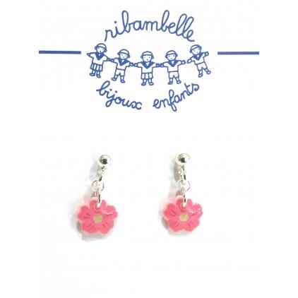 Boucles d'oreilles pendantes Fleur Argent 925 - Bijoux Enfants Ribambelle