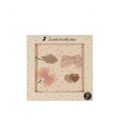 Barrettes mini – Rose Luciole et Petit Pois