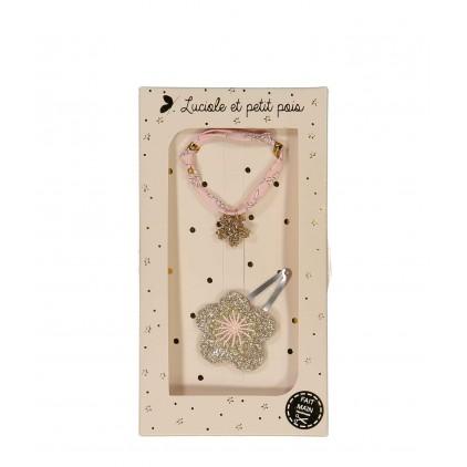 Barrette & Bracelet – Fleur or Luciole et Petit Pois