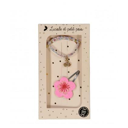 Barrette & Bracelet Fleur rose Luciole et Petit Pois