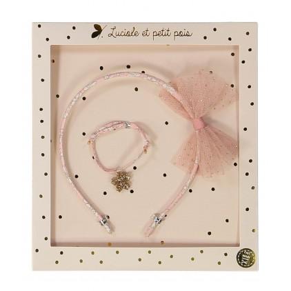 Serre-tête & Bracelet rose – Luciole et Petit Pois