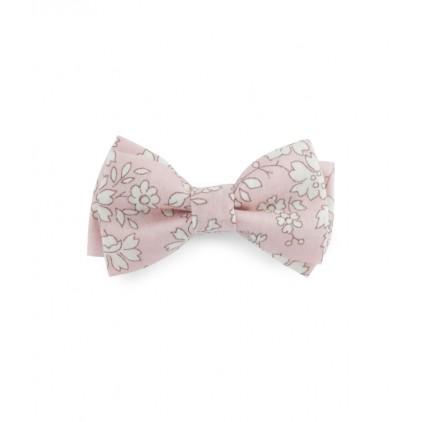 Barrette noeud double – Liberty Capel rose nude – Luciole et Petit Pois