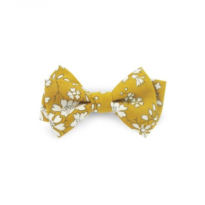 Barrette noeud double – Liberty Capel moutarde – Luciole et Petit Pois