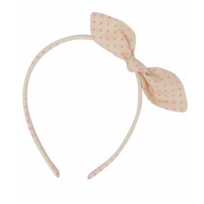 Serre-tête noeud – Milk pois rose fluo – Luciole et Petit Pois