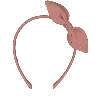 Serre-tête noeud – Rose thé pois or – Luciole et Petit Pois