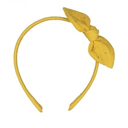 Serre-tête noeud – Moutarde pois or – Luciole et Petit Pois