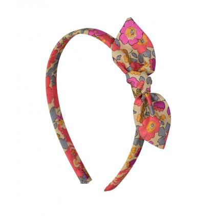 Serre-tête noeud – Liberty Betsy fluo thé – Luciole et Petit Pois