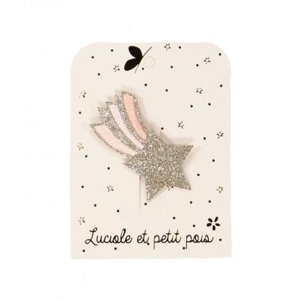 Barrette étoile filante brodée – Rose – Luciole et Petit Pois
