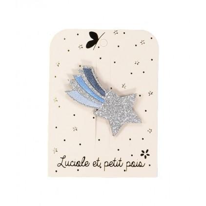 Barrette étoile filante brodée – Bleu – Luciole et Petit Pois