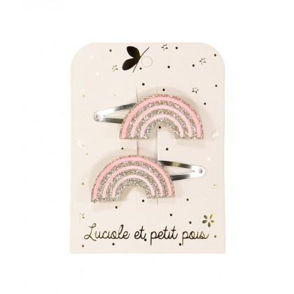 Barrette arc en ciel – Pastel rose (paires) – Luciole et Petit Pois