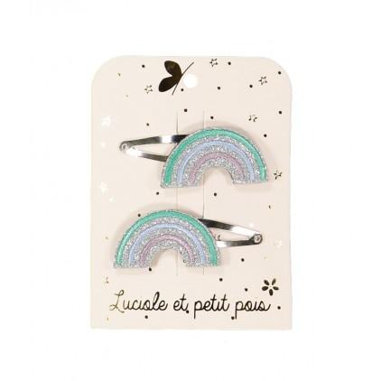 Barrette arc en ciel – Pastel vert (paires) – Luciole et Petit Pois