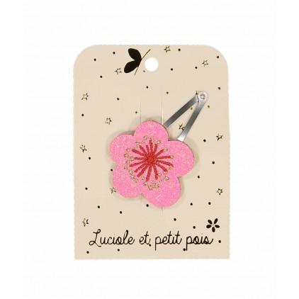Barrette fleur ume rose– Luciole et Petit Pois