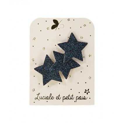 Barrette 3 étoiles glitter - Bleu – Luciole et Petit Pois