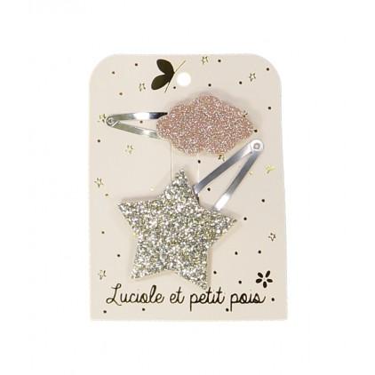 Barrettes étoile & nuage – Doré/Rose – Luciole et Petit Pois