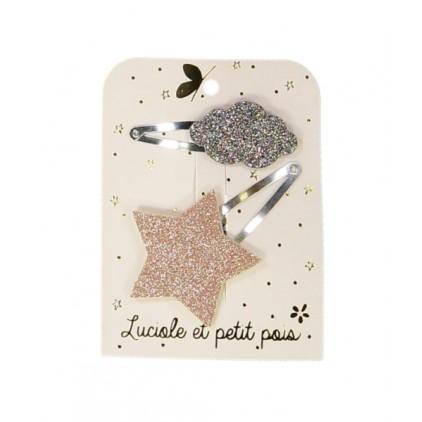 Barrettes étoile & nuage – Rose/Bronze – Luciole et Petit Pois