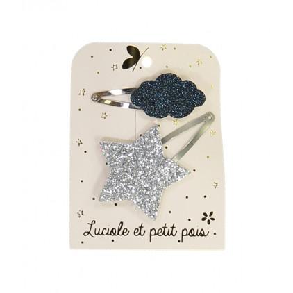 Barrettes étoile & nuage - Argent/Bleu – Luciole et Petit Pois