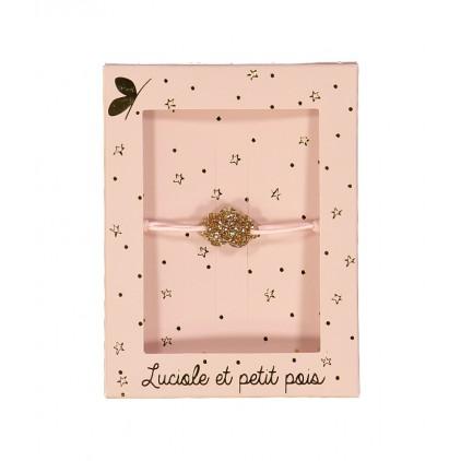 Bracelet cordon rose – Nuage or - Luciole et Petit Pois