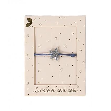 Bracelets cordon bleu – Etoile argent - Luciole et Petit Pois