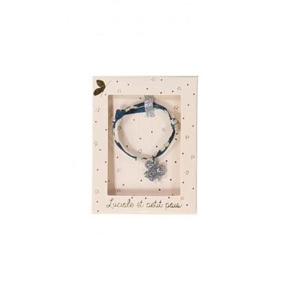 Bracelet Liberty bleu trèfle argent - Luciole et Petit Pois