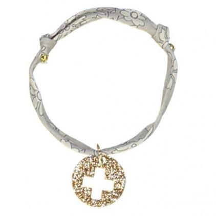 Bracelet Liberty gris croix or - Luciole et Petit Pois