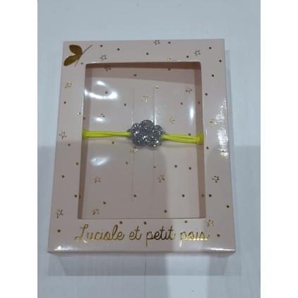 Bracelet cordon jaune fluo nuage argenté - Luciole et Petit Pois