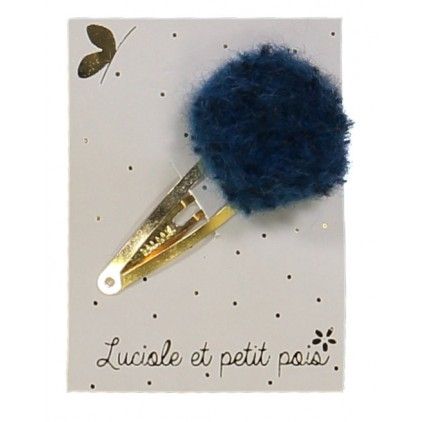Barrette pompon laine - Bleu – Luciole et Petit Pois