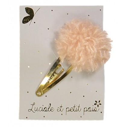 Barrette pompon laine - vieux rose – Luciole et Petit Pois