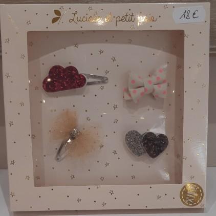 Barrettes mini avec nuage rose – Luciole et Petit Pois