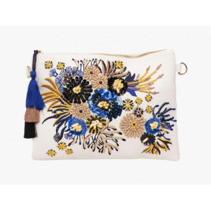 Pochette brodée de fleurs bleues - LOLLIPOPS