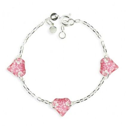 Bracelet 3 motifs coeur framboise - Ribambelle Bijoux