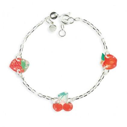 Bracelet 3 motifs cerise - Ribambelle Bijoux