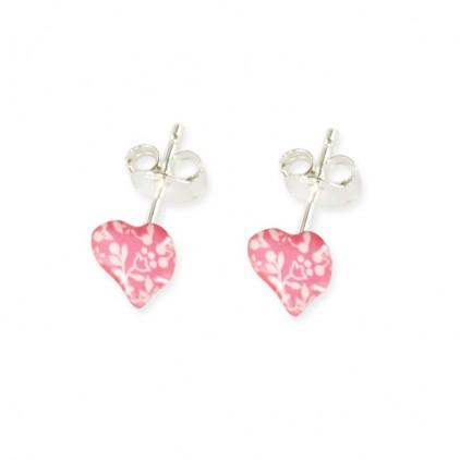 Boucles d'oreilles tiges cœur framboise - Ribambelle Bijoux