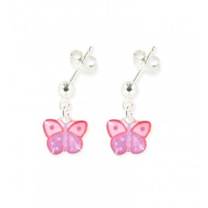 Boucles d'oreilles pendantes papillon lilas - Ribambelle Bijoux