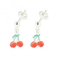 Boucles d'oreilles pendantes cerise - Ribambelle Bijoux