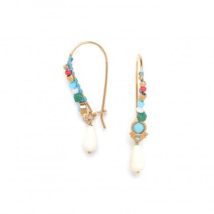 LES INSEPARABLES boucle grand crochet « turquoise » - Franck Herval