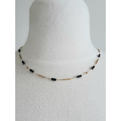 "Collier pierres noires ""tube""- ZAG"