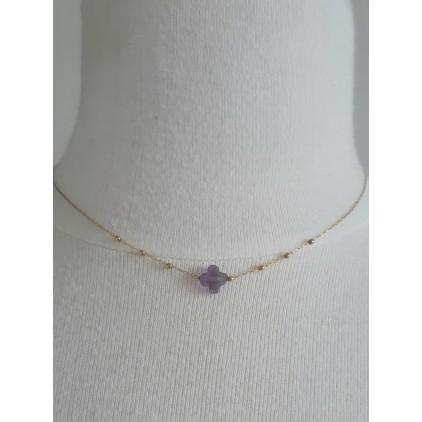 Collier trèfle pierre (violet) - ZAG