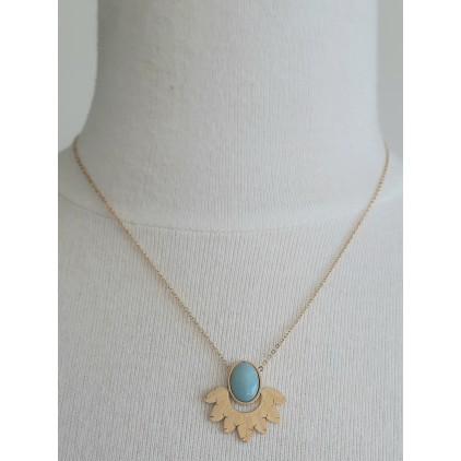 Collier pierre turquoise plumes - ZAG