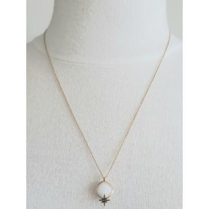 Collier pierre blanche avec étoile - ZAG