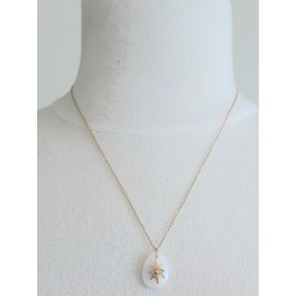 Collier pierre ovale blanche avec étoile - ZAG