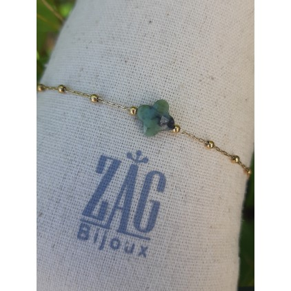 Bracelet trèfle pierre verte - ZAG