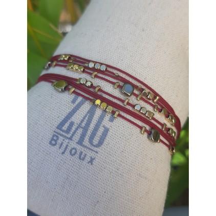 Bracelet 2 rangs grenat - ZAG