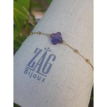 Bracelet trèfle violet - ZAG
