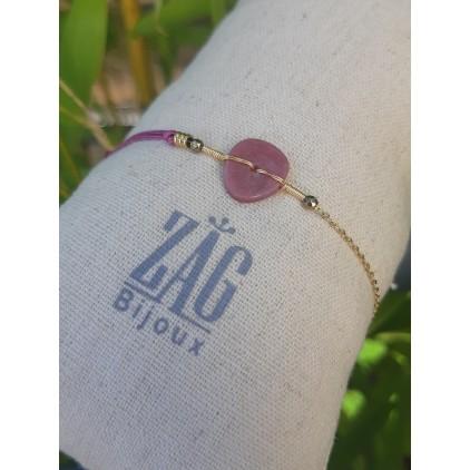 Bracelet lien et pierre fushia - ZAG