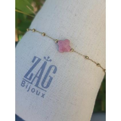 Bracelet trèfle pierre rose - ZAG