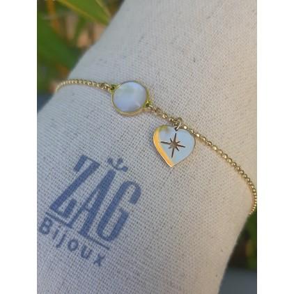 Bracelet rond nacre et coeur - ZAG