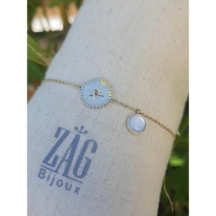 Bracelet rond avec étoile et nacre - ZAG