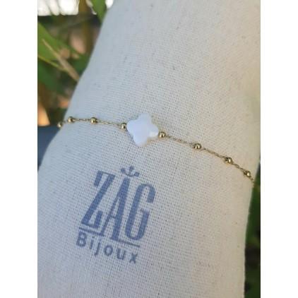 Bracelet trèfle pierre blanche - ZAG