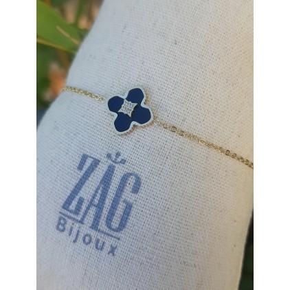 Bracelet trèfle noir avec zircons - ZAG