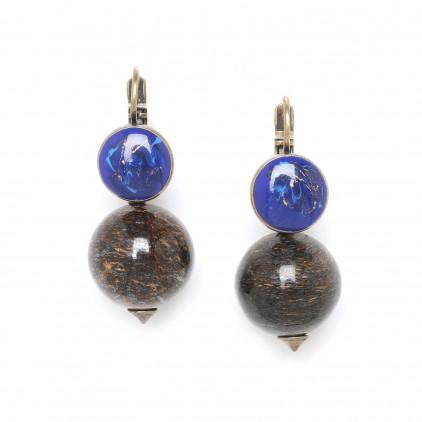 Boucles d'oreilles perle ronde bronzite - Nature Bijoux